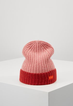 COLOR BLOCK BEANIE - Bonnet - pale pink/burgundy