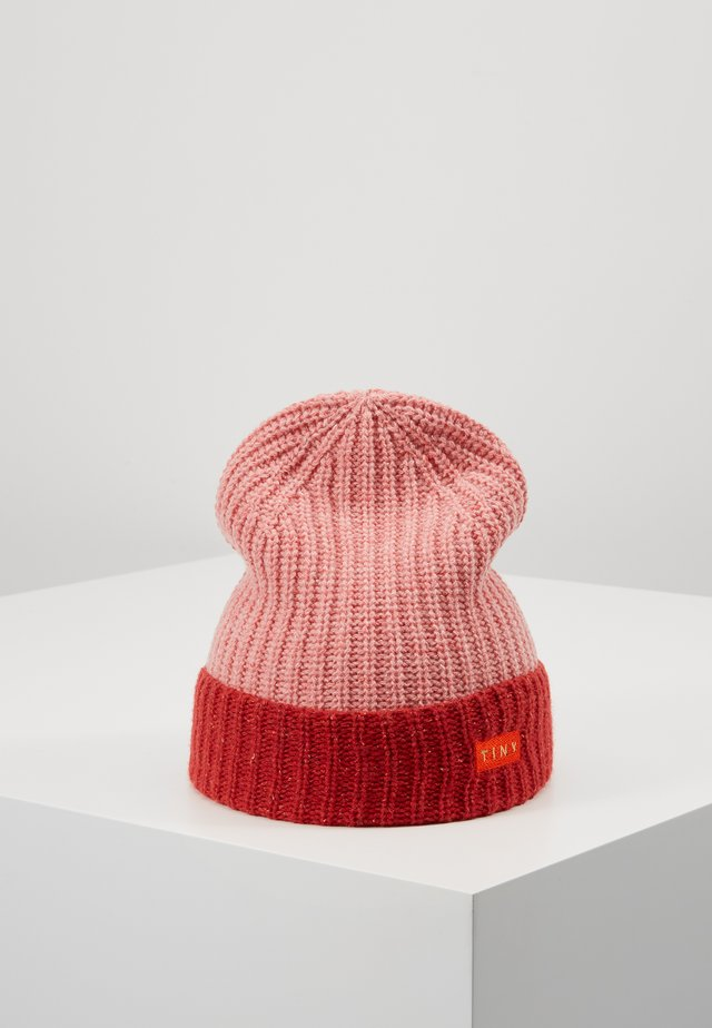COLOR BLOCK BEANIE - Pipo - pale pink/burgundy