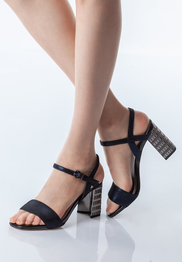 High heeled sandals - dark blue
