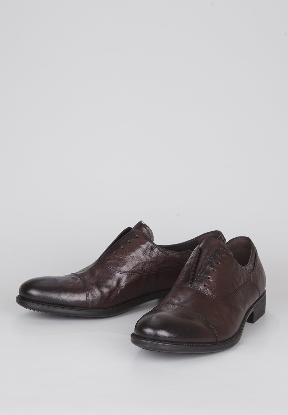 Tj Collection Distressed Oxfords - Mocassins Dark Brown