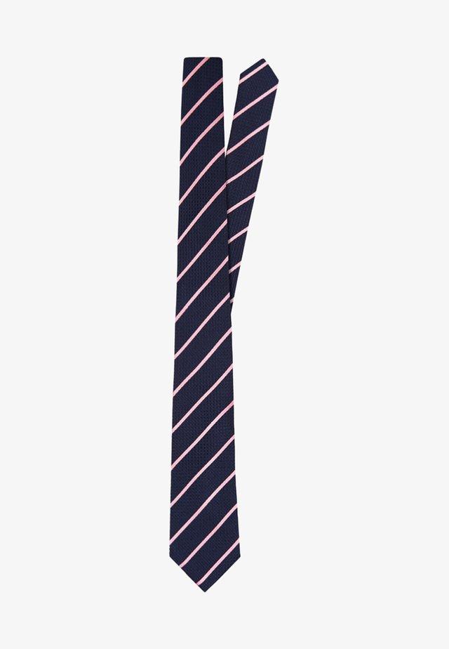 SLIM TEXTURED - Stropdas - navy/pink