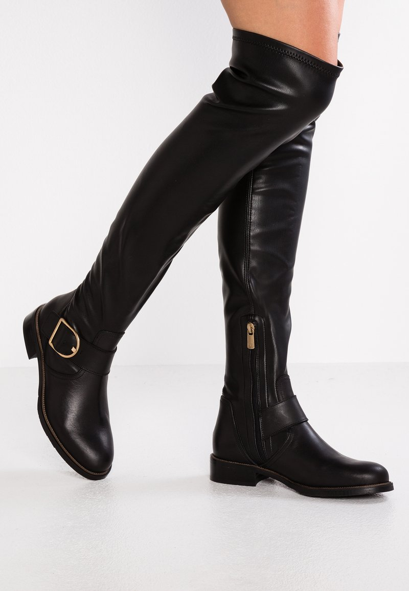 Tommy Hilfiger - OVERSIZED BUCKLE BOOT - Over-the-knee boots - black