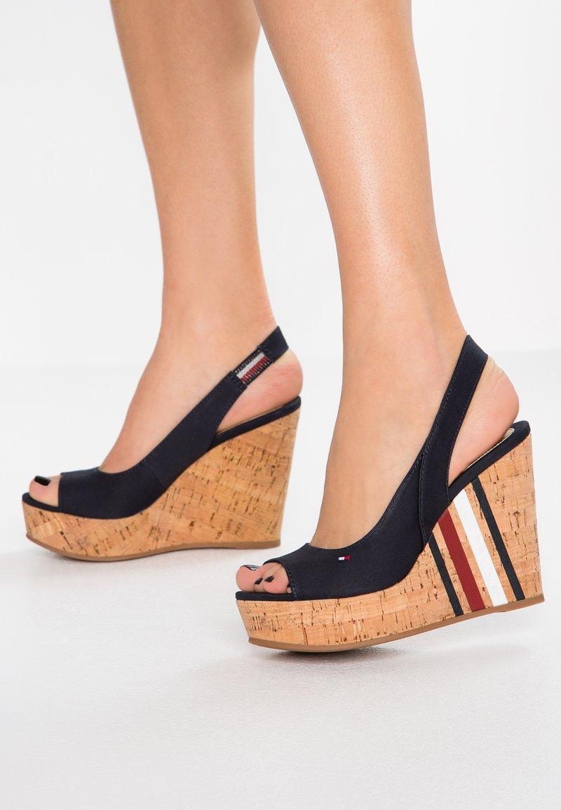 Tommy Hilfiger - SLING BACK WEDGE STRIPES - High Heel Sandalette - blue