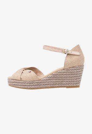 ICONIC ELBA METALLIC - Platform sandals - beige