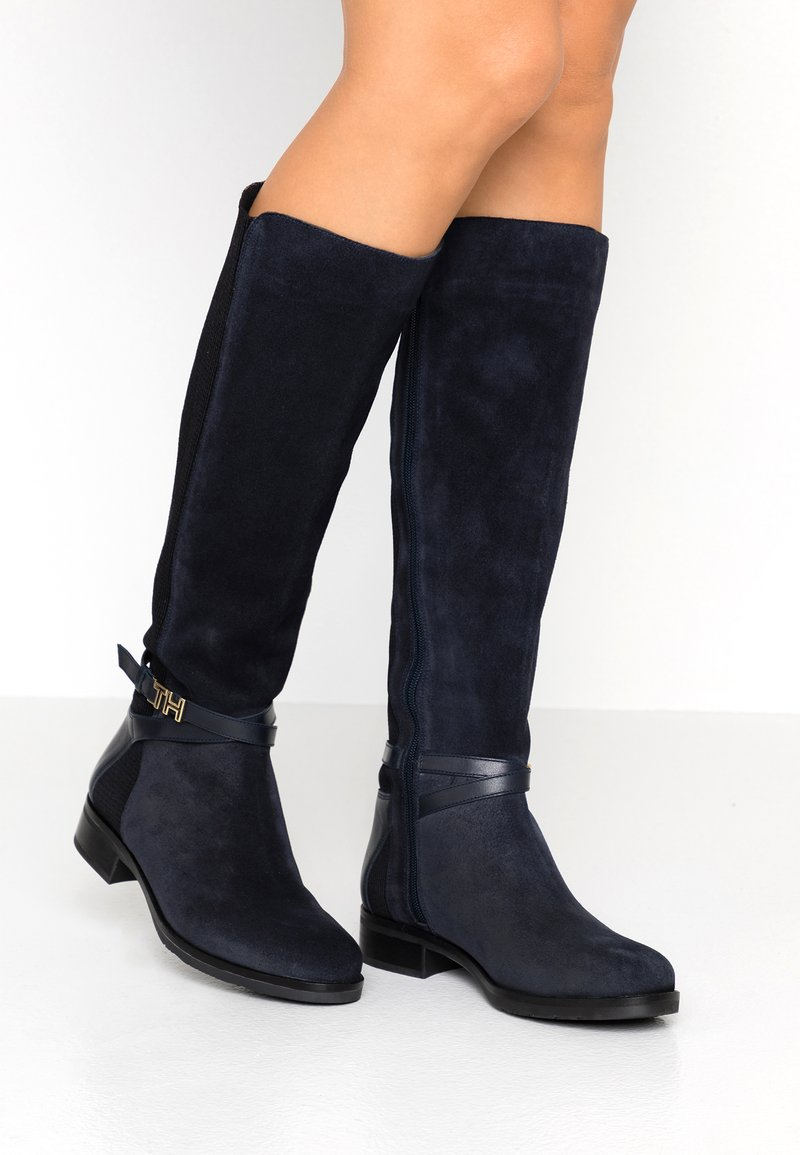Tommy Hilfiger - TH HARDWARE MIX LONGBOOT - Boots - blue