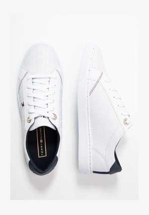 TOMMY JACQUARD LEATHER SNEAKER - Joggesko - white