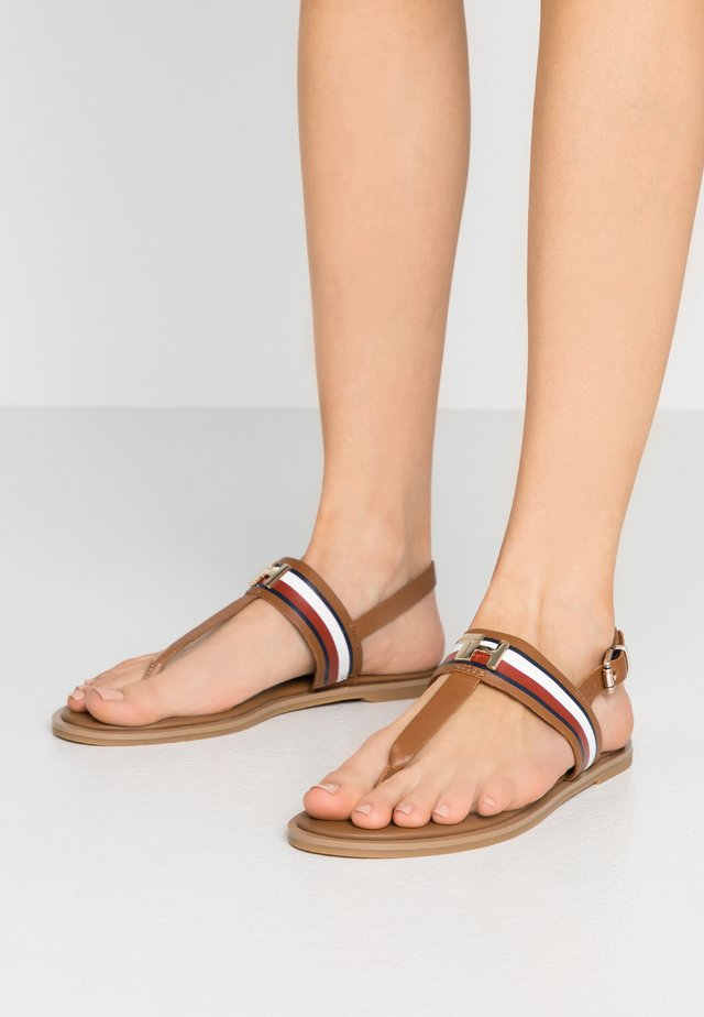 JULIA 93A - T-bar sandals - summer cognac