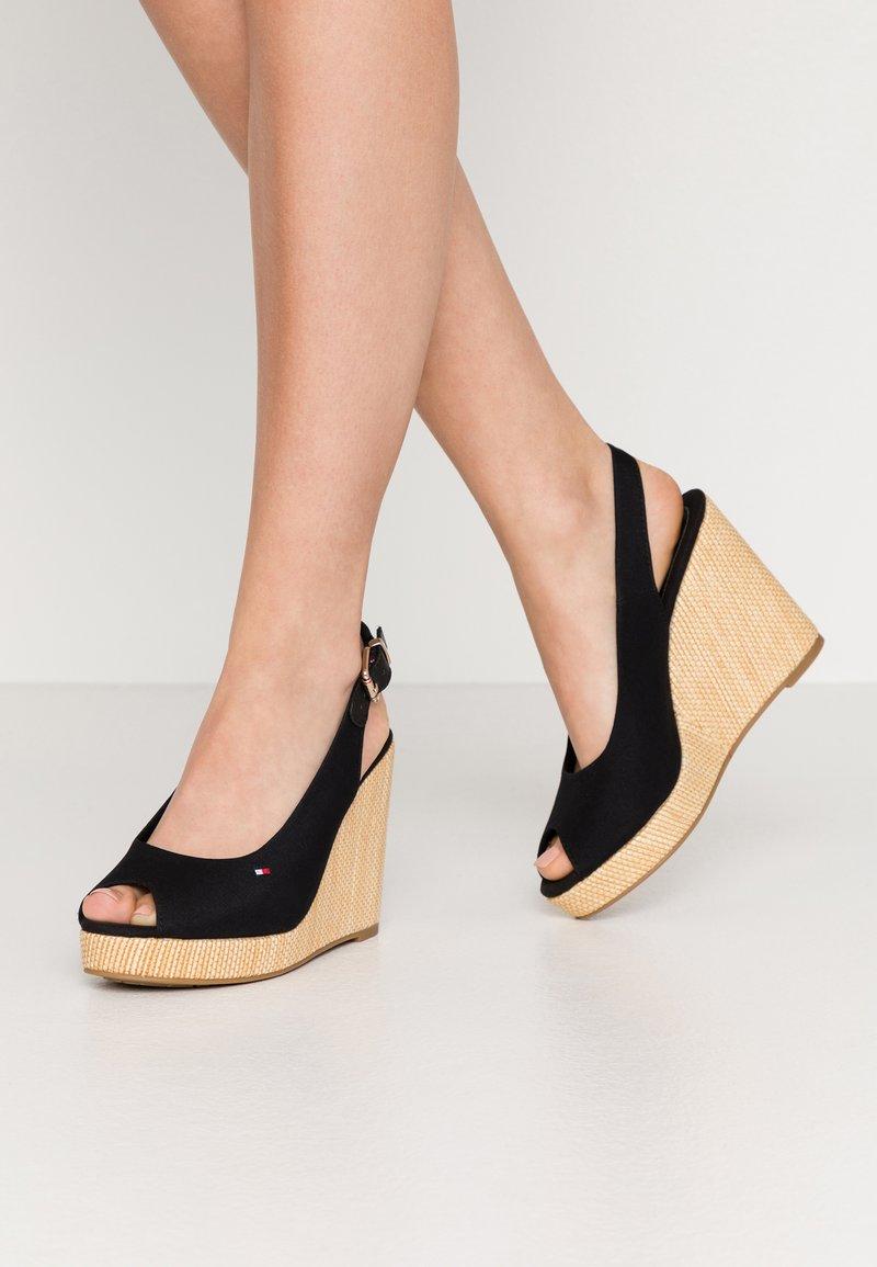 Tommy Hilfiger - ICONIC ELENA SLING BACK WEDGE - High heeled sandals - black
