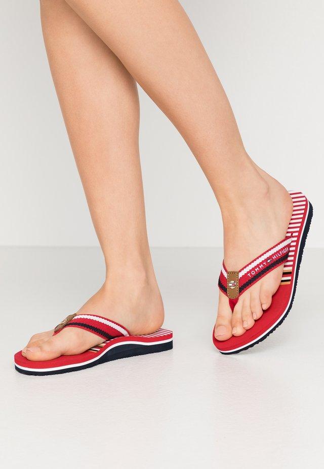 STRIPY FLAT BEACH SANDAL - T-bar sandals - primary red