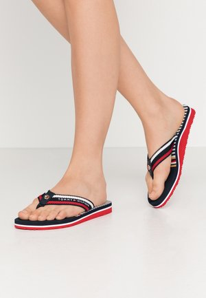 STRIPY FLAT BEACH SANDAL - T-bar sandals - dark blue