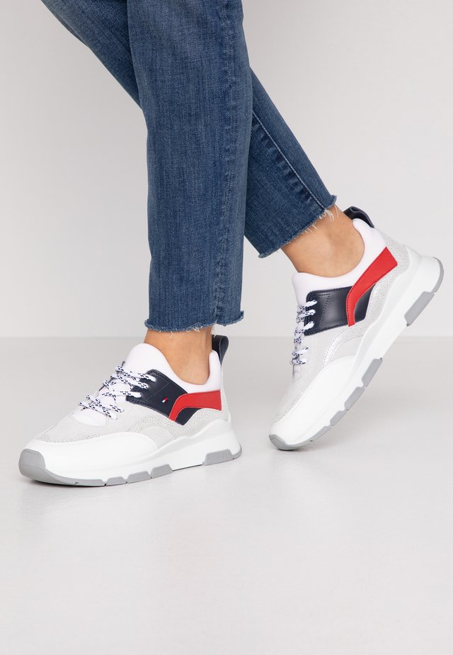SPORTY CHUNKY GLITTER SNEAKER - Trainers - red/white/blue