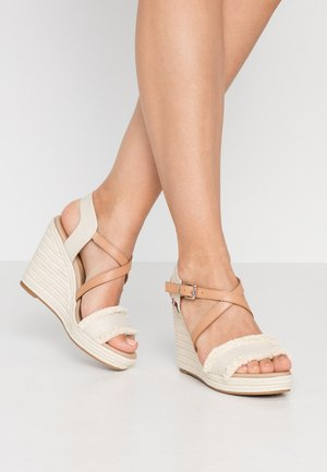 FRINGES HIGH WEDGE  - High heeled sandals - ivory