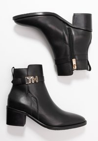 Tommy Hilfiger - TH HARDWARE LEATHER MID BOOTIE - Classic ankle boots - black - 3