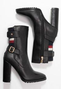 Tommy Hilfiger - MODERN BLANKET HIGH BOOTIE - High heeled ankle boots - black - 3
