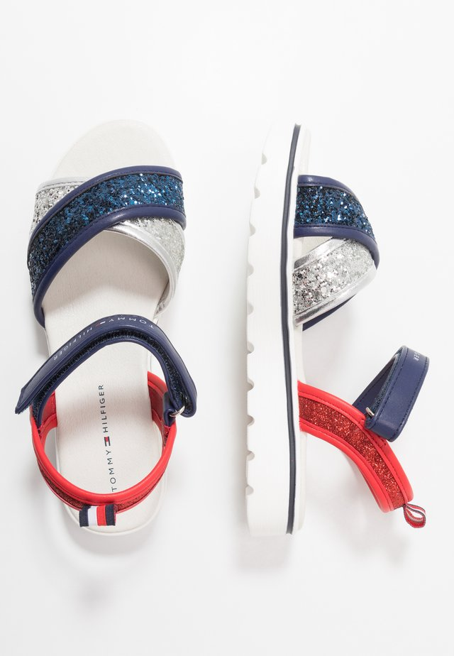 Sandals - silver/blue/red