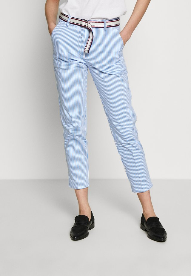 STRETCH STRIPED SLIM PANT - Trousers - blue/white