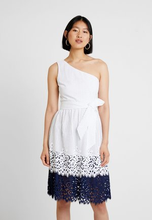 HELENA SHOULDER DRESS - Kjole - white/blue