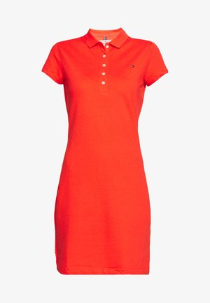 SLIM POLO DRESS - Freizeitkleid - bright vermillion