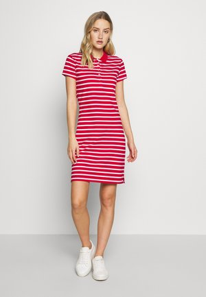 SLIM STRIPE POLO DRESS - Sukienka letnia - red/white