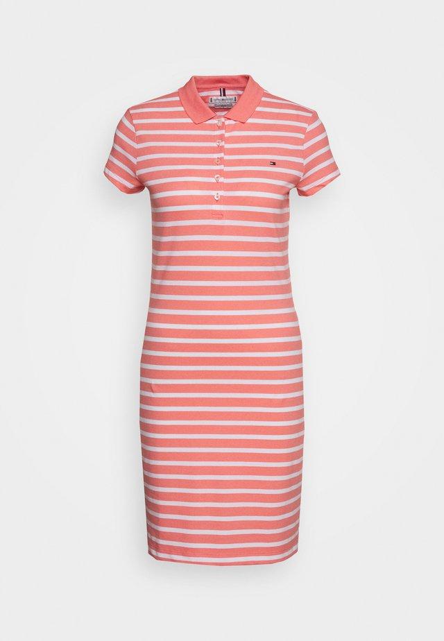 SLIM STRIPE POLO DRESS - Korte jurk - breton watermelon/white
