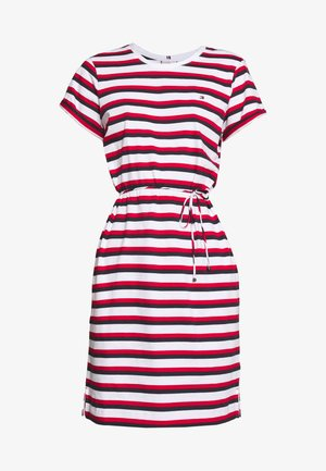 ANGELA REGULAR DRESS - Jersey dress - red/white