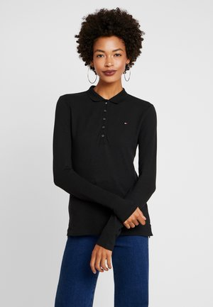 LONG SLEEVE SLIM - Koszulka polo - black