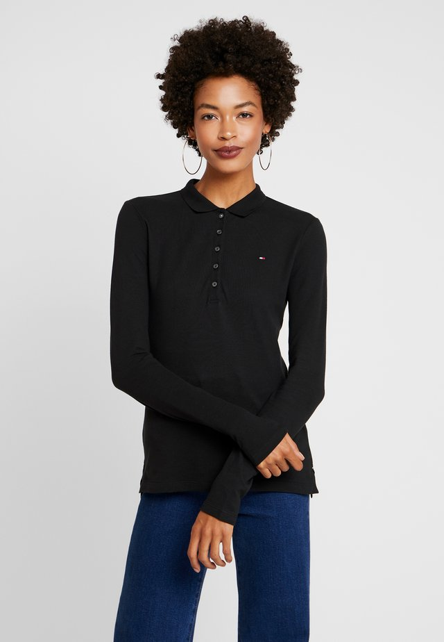 LONG SLEEVE SLIM - Polo shirt - black