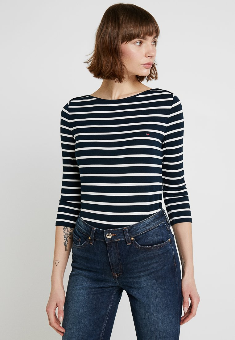 Tommy Hilfiger - HERITAGE BOAT NECK TEE 3/4 - Topper langermet - midnight/classic white