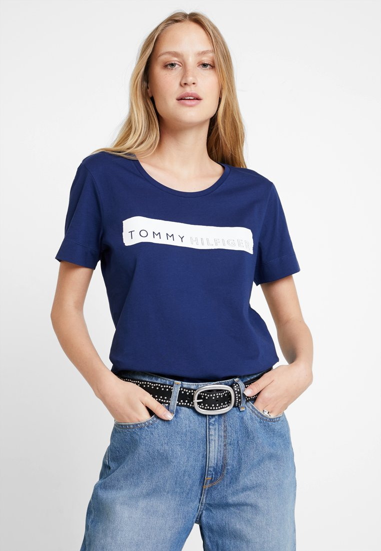 Tommy Hilfiger - BILLIE ROUND TEE - T-shirt imprimé - blue