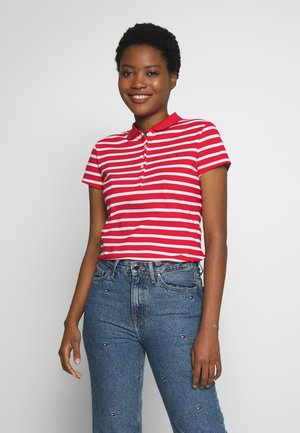 SHORT SLEEVE SLIM STRIPE - Polo shirt - red/white