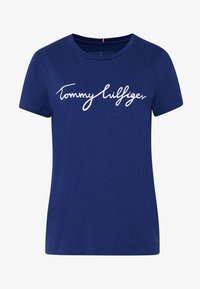 Tommy Hilfiger - CREW NECK GRAPHIC TEE - T-shirt z nadrukiem - blue ink - 4