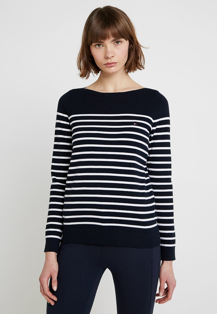 Tommy Hilfiger - HERITAGE BOAT - Strickpullover - midnight/classic white