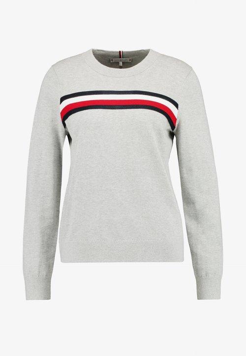 Tommy Hilfiger ESSENTIAL GLOBAL - Sweter - grey Odzież Damska FFKY-CS1 tani