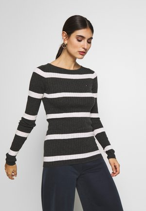 STRIPE CABLE BOAT - Sweter - dark grey/white