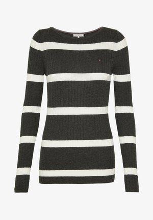 STRIPE CABLE BOAT - Trui - dark grey/white