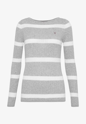 STRIPE CABLE BOAT - Pullover - lght grey heather/white