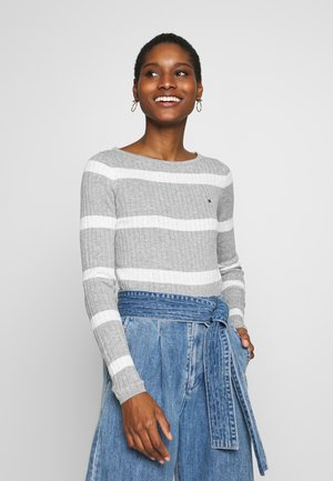 STRIPE CABLE BOAT - Jumper - lght grey heather/white