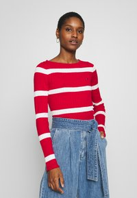 Tommy Hilfiger - STRIPE CABLE BOAT - Svetr - red/white - 0