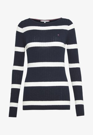 STRIPE CABLE BOAT - Pullover - navy/snow white