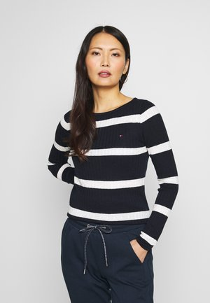 STRIPE CABLE BOAT - Svetr - navy/snow white