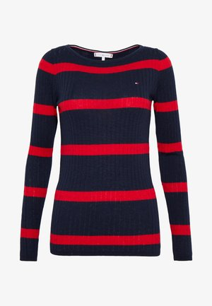 STRIPE CABLE BOAT - Trui - navy/red