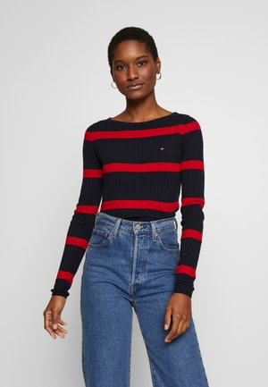 STRIPE CABLE BOAT - Sweter - navy/red