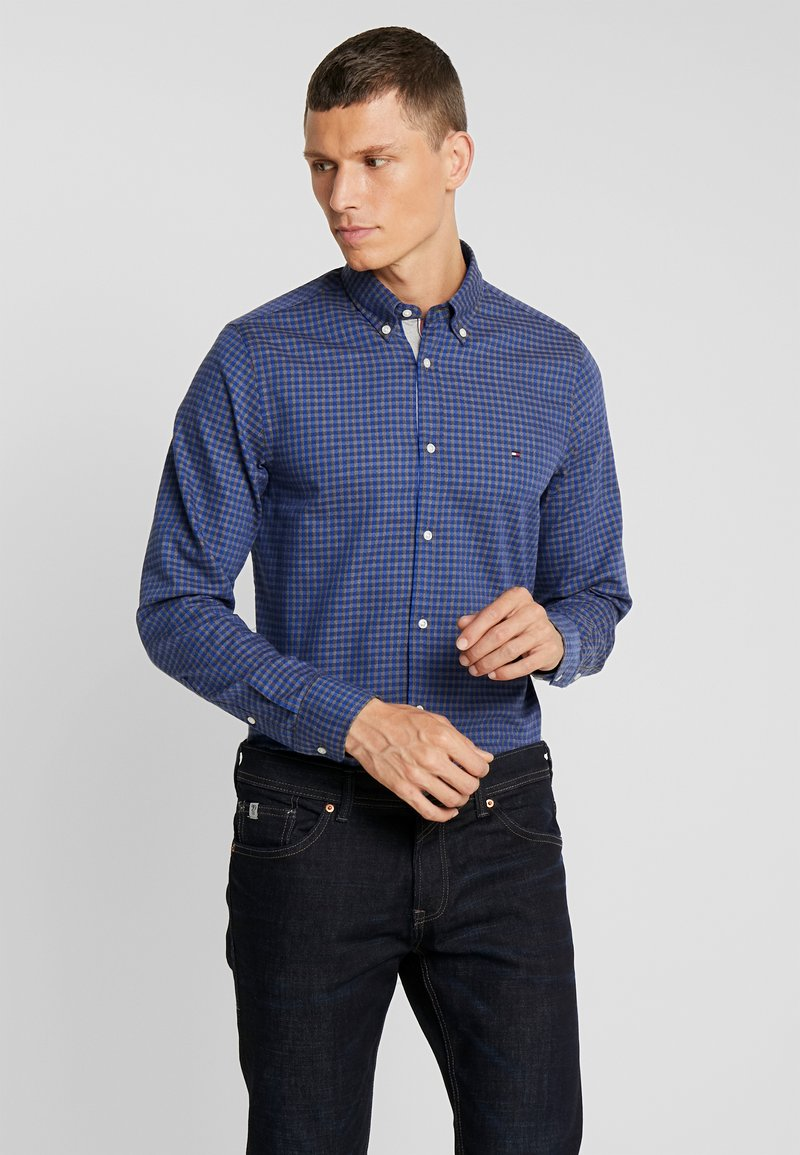 Tommy Hilfiger - SLIM GINGHAM DOBBY - Shirt - blue
