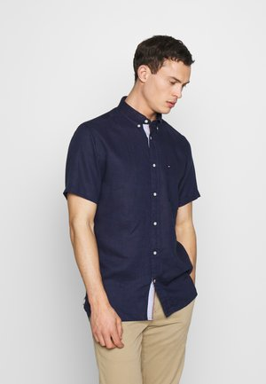 LINEN SHIRT S/S - Shirt - blue