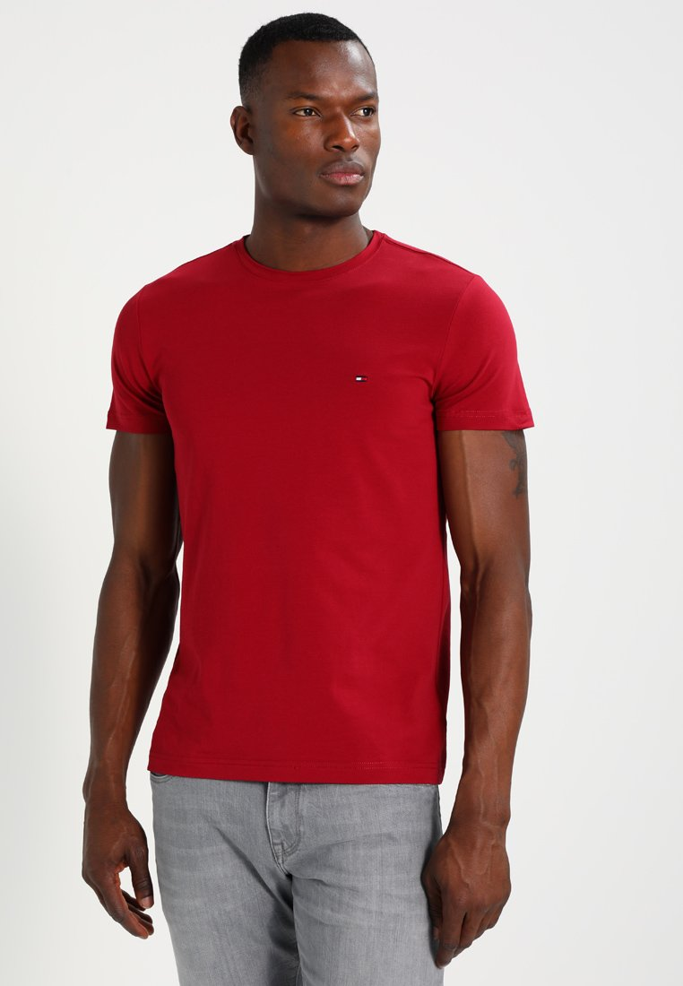 Tommy Hilfiger - STRETCH SLIM FIT TEE - Print T-shirt - red