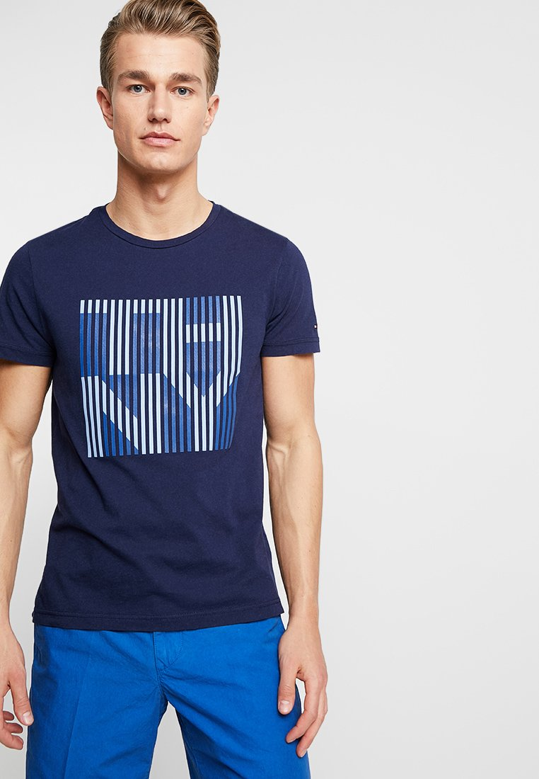 Tommy Hilfiger - STRIPE TEE - Printtipaita - blue