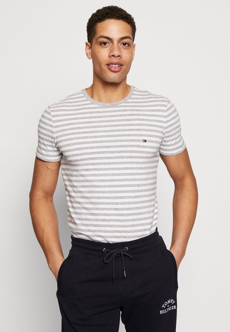 Tommy Hilfiger - STRETCH SLIM FIT TEE - T-shirt con stampa - grey
