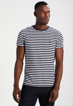 STRETCH SLIM FIT TEE - Print T-shirt - navy blazer/bright white