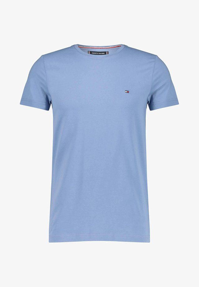STRETCH SLIM FIT TEE - Print T-shirt - stoned blue