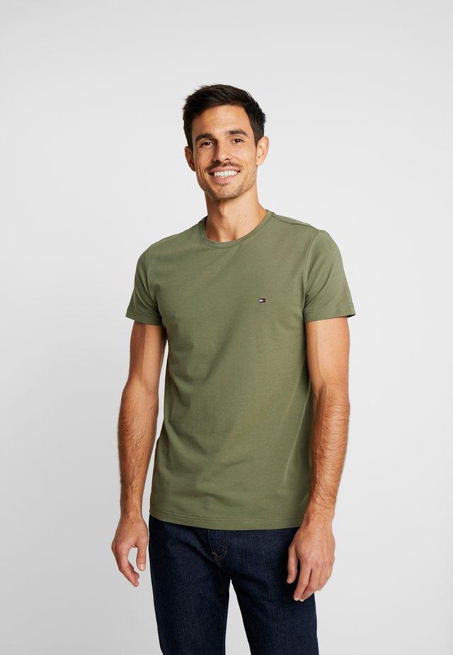 STRETCH SLIM FIT TEE - Print T-shirt - green